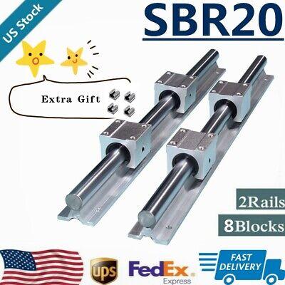 Sbr20 Linear Rail Guide 200mm-2200mm Slide Shaft Rod8x Sbr20uu Bearing Block
