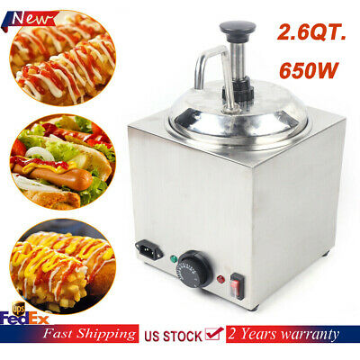2.6qt. Electric Cheese Pump Dispenser Warmer Stainless Steel 650w Power Silver