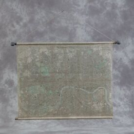 Large Antiqued Scroll London Map