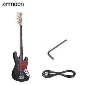 High Quality 4 String JB Electric Bass Guitar 21 Frets+6.35mm Cable Black G5Y3