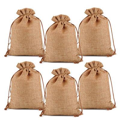 25 50 100 Burlap Jute Hessian Gift Bag Wedding Drawstring Pouch 3x4 4x6 5x7 7x9
