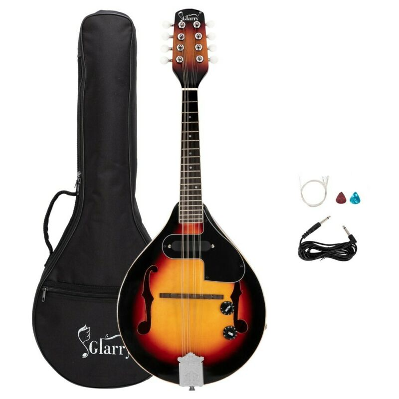 Glarry A Style 8-String Acoustic Electric Mandolin Double-Duty Mandolin with Bag