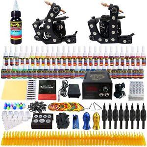 Complete Tattoo Kit 2 Professional Machine Gun 54 Inks Power Supply Needle TK256