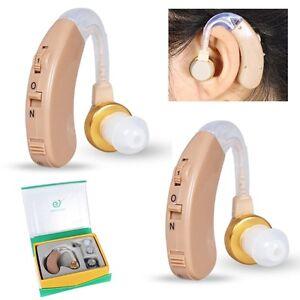 2X Stück Mini Sound Gerät Hilfsmittel Hörgerät Hörhilfe Hörverstärker + Batterie