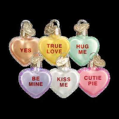 Set of 6 Old World Valentine Conversation Heart Ornament NWT love romance weddin