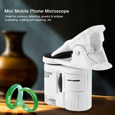 Magnifier 60x Pocket Uv Led Light Jeweler Loupe Magnifying Glass Mini Microscope
