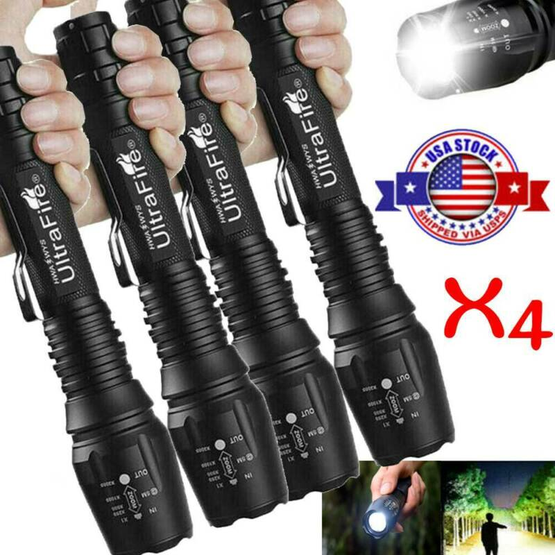 4X Tactical  Flashlight Powered High T6 5Modes Zoomable Torc