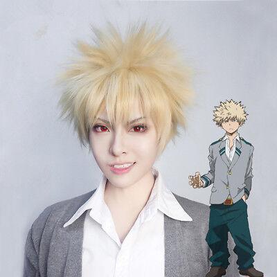 My Hero Academia Bakugou Katsuki Blonde Short Hair Cosplay Full Wig Blonde Wig (Wigs Blonde Short)