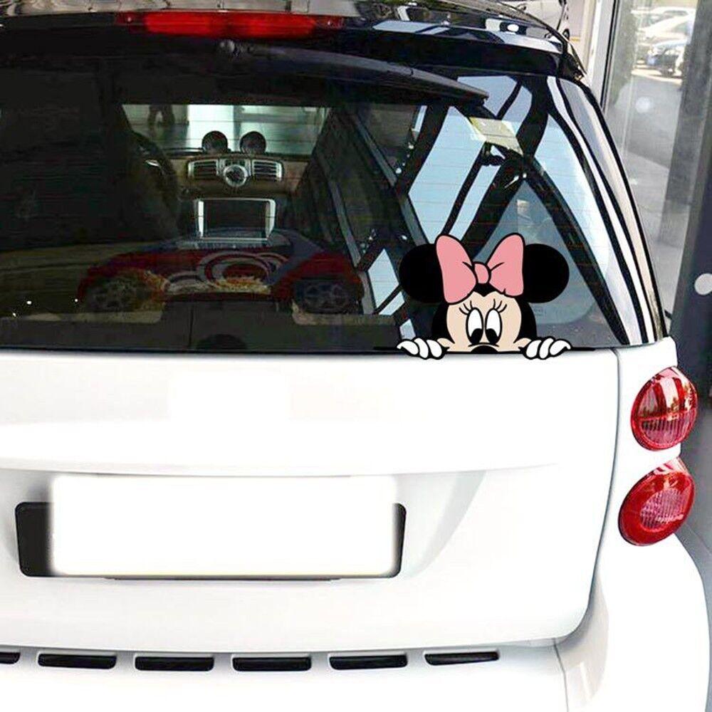 Peeking Disney Minnie Mouse COLOR Car or Laptop Vinyl Decal
