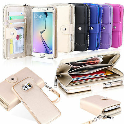 Leather Wallet Card Slot Zipper Case Cover For Samsung Galaxy S5 S6 Edge Note 5 ()