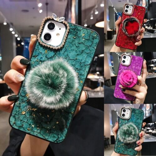 For iPhone 11 Pro Max Plush Fluffy Crystal Case Hand Strap w