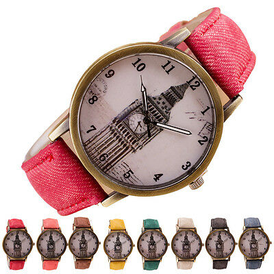 Hot Sale Retro Clock Tower WristWatch Cowboy Leather Band Analog Quartz Watches