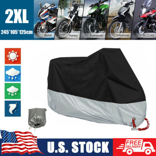 2XL Motorcycle Cover Waterproof Heavy Duty for Outside Snow Rain Storage Covers & Tarpaulins