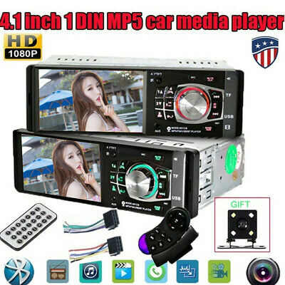 "4.1"" Single 1 DIN Car Stereo Radio MP3 Player Bluetooth FM AUX USB SD + Camera"