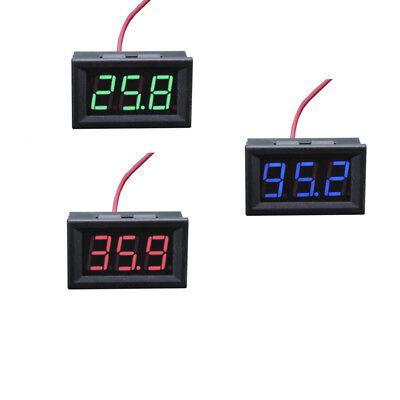 Green Led 3-digital Display Panel 2-wire Mini Dc 5-120v Voltmeter Motorcycle