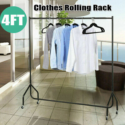 4ft Heavy Duty Commercial Clothes Garment Rolling Rack Drying Hanger Rail Stand