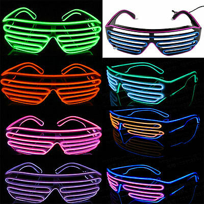Flashing LED Light Up Slotted Shutter Shades Sunglasses Glow Party GlassFT ()