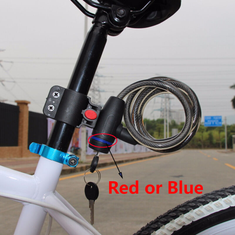 2 Keys Cable Anti-Theft Scooter Safety Bike Accessories Bicycle Lock Cycling