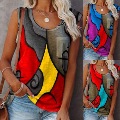 Damen Printed Sommer T-Shirt Trägertop Trägershirt Freizeit Tunika Oberteile Top