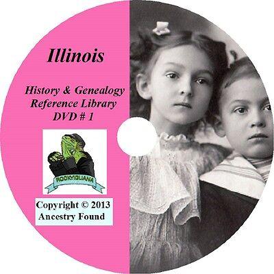 ILLINOIS - History & Genealogy -206 old Books on DVD - Ancestors, County, CD, IL