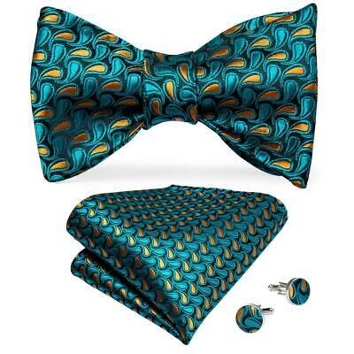 USA Mens Silk Bowtie Pre-tied Bow Tie Paisley Solid Striped Hanky Cufflinks -