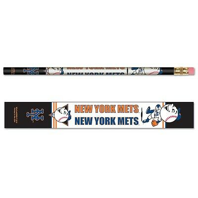 New York Mets Pencil - NEW YORK METS MR. MET MASCOT TEAM LOGO 6-PACK PENCILS BRAND NEW WINCRAFT