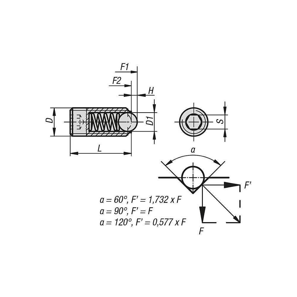 verstärkte Federkraft Federnde Druckstücke mit ISK und Kugel  M12 Edelstahl