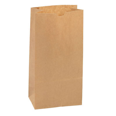 "Paper Grocery Bags 1000 Natural 5"" x 3 ⅓"" x 9 ¾"" Kraft Lunch Sack Flat Bottom"
