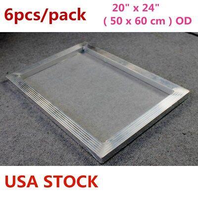6pcs 20 X 24 Aluminum Silk Screen Printing Frame With 160 Mesh White-usa