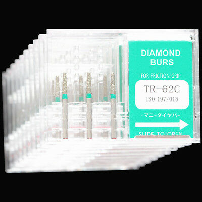 10 Boxes Tr-62c Dental High Speed Handpiece Diamond Bur Fg 1.6mm Mani Dia-burs