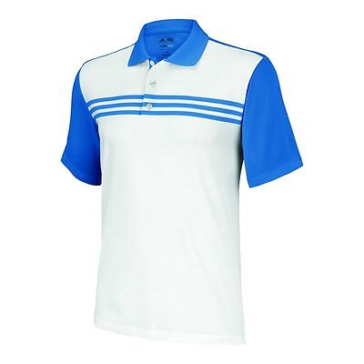 NEW Adidas Golf 2013 Climacool 3 Stripe Shirt White/Oasis  M/L/XL