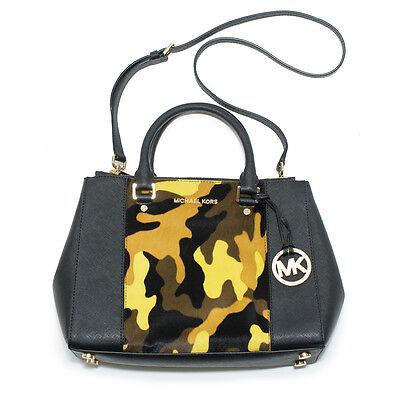 Michael Kors Sutton Center Stripe Medium Satchel Black Handbag New