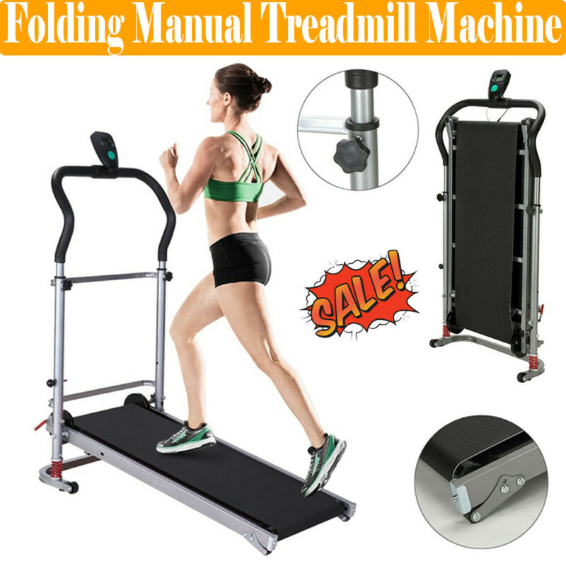 Folding Manual Treadmill Walking Machine Exercise Fitness Gy