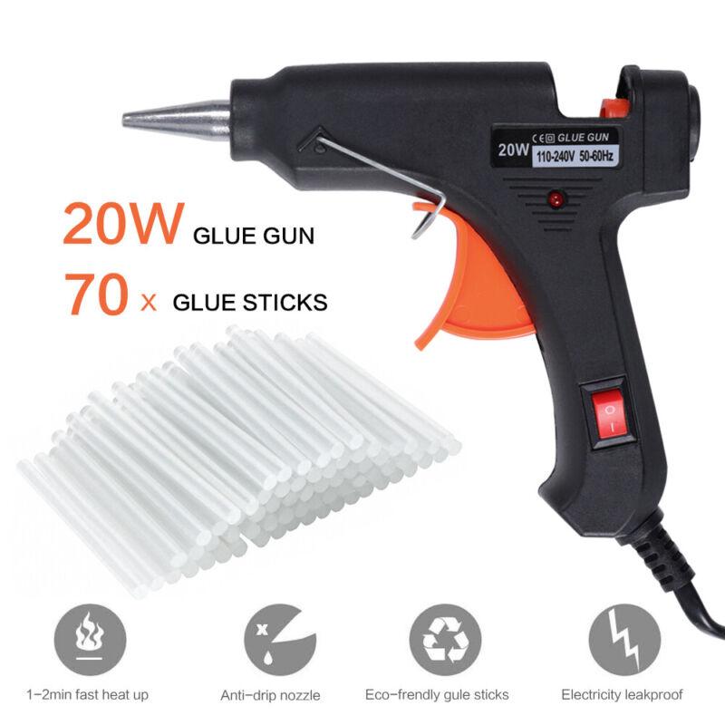 Hot Melt Glue Gun w/ 70 Clear Glue Sticks 100V-240V Electric Heat DIY Art Crafts