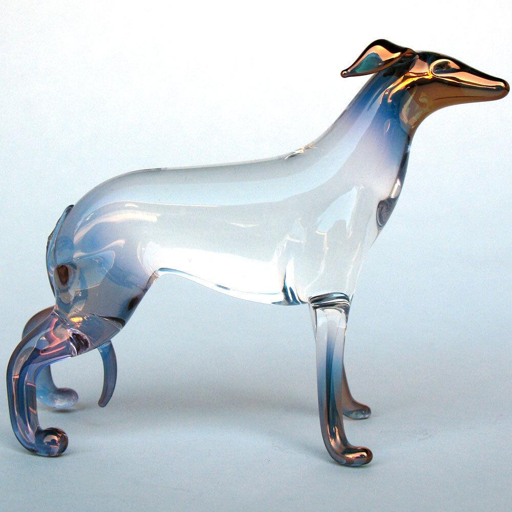 Whippet Figurine Hand Blown Glass Crystal Sculpture