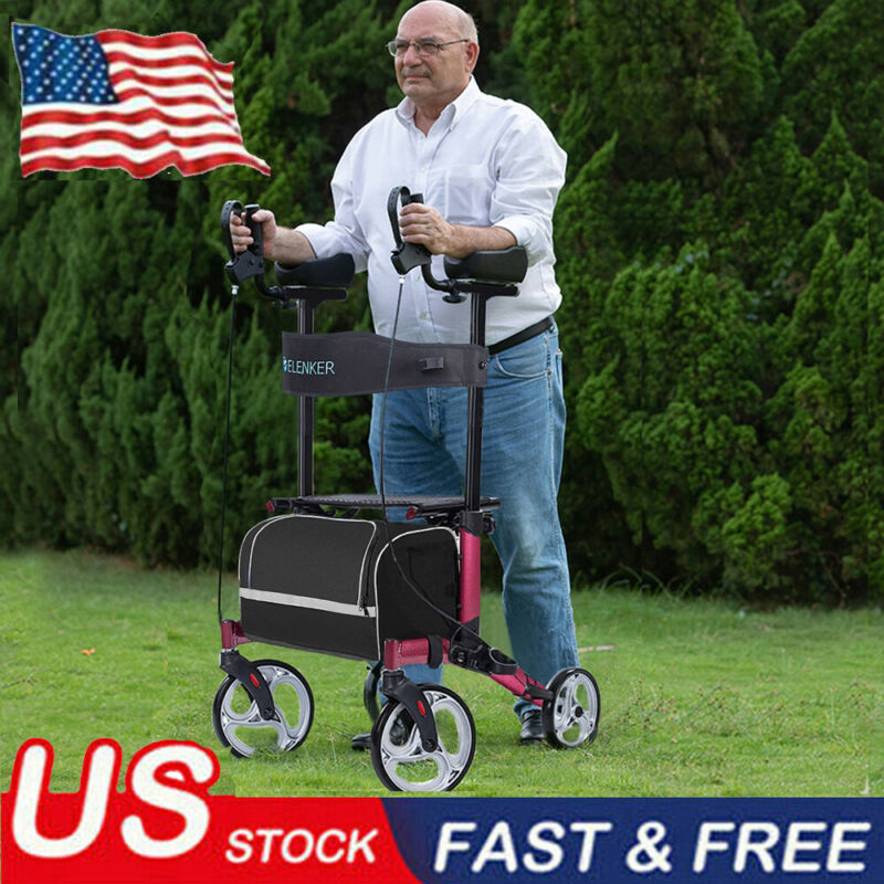 2020 ELENKER Walker Upright Rollator Walker Medical Aid Seat Back 4 Wheel USA