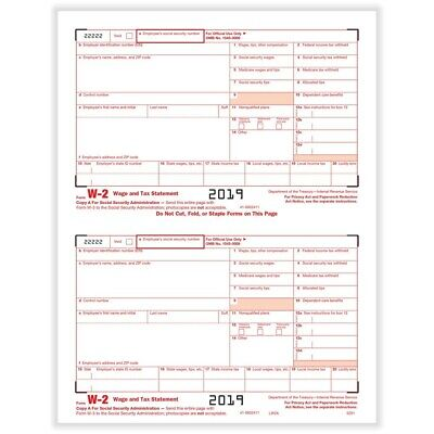 2 Pack W2 Lsr Copy A Federal Irs Copy A - Wage And Tax Stat 2019 - 100 Form
