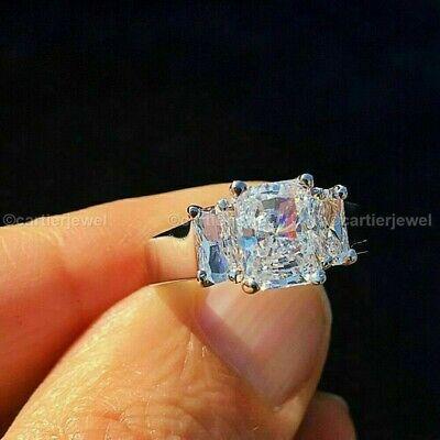 Diamond Engagement Ring 14K White Gold Certified 3.20 Ct Radiant Cut Three (Radiant Cut Three Stone Diamond Engagement Rings)