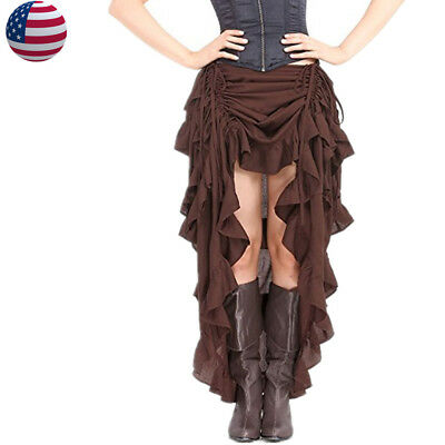US STOCK Women Gothic Vintage Steampunk Victorian Skirt Show Girl Costume  - Girls Steampunk Costume