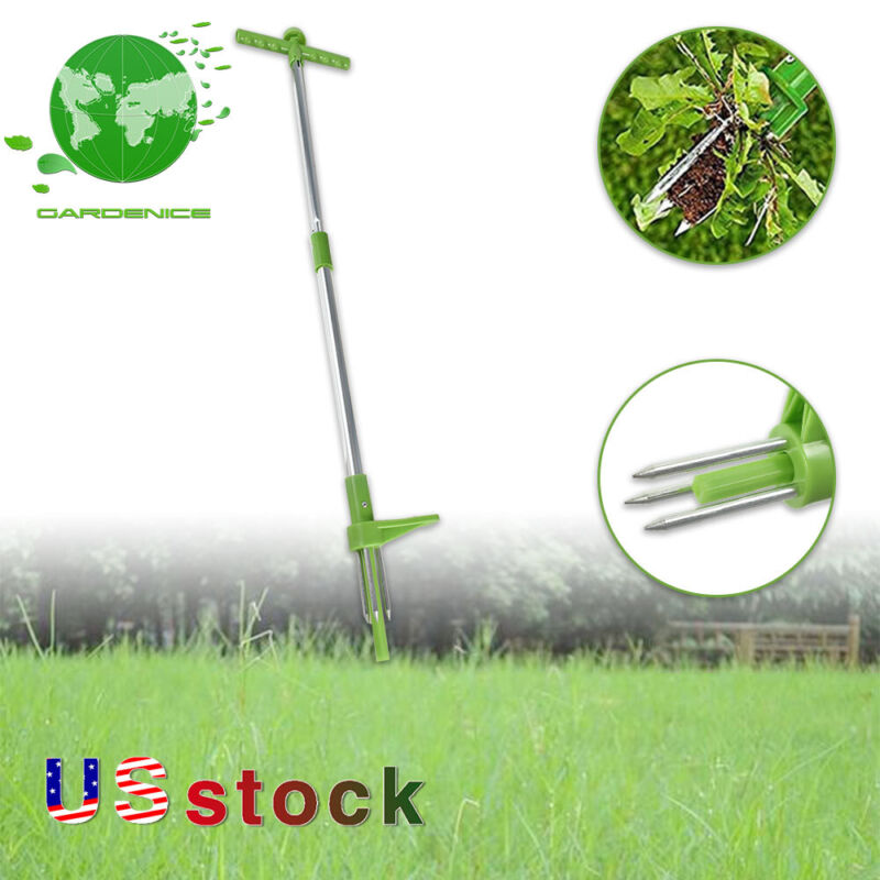 Hand Weed Stand-up Weeder Manual Weeder w/ 3 Stainless Steel Claws for Dandelion