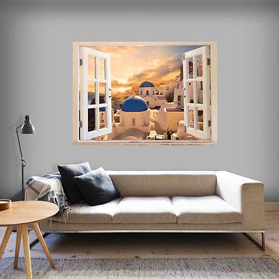 Fenster Poster (3D WANDILLUSION WANDBILD FOTOTAPETE POSTER XXL FENSTERBLICK VLIES d-C-0033-c-a)