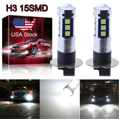 H3 3030 15SMD LED Fog Light Bulb Conversion Kit Super Bright 6000K HID White