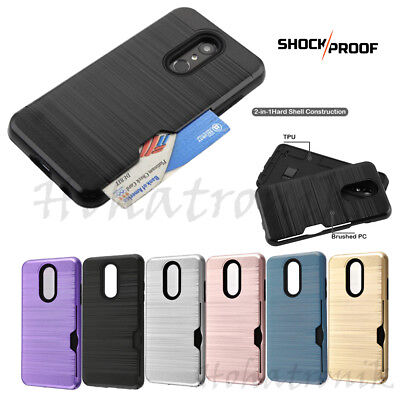 (For LG Stylo 4 Hybrid Rubber Rugged Hard Card Slot Wallet Case Protective Cover)