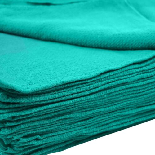 50 Pieces-NEW GREEN GLASS CLEANING HUCK/ SURGICAL/SHOP AND  DETAILING TOWELS