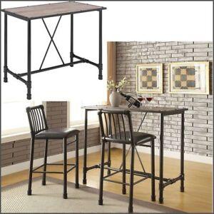 Industrial Bar Pub Table Rustic Oak Wood Top Black Metal Pipe Style Dining  Table