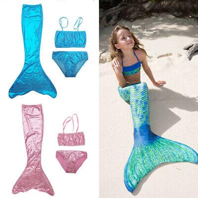 Mermaid Tail Swimmable Bikini Sets For Kids Girls Swimming Costumes Blue Pink US - Pink Mermaid Costume Child