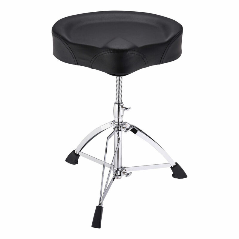 Large Saddle Drum Throne Drummer Stool Round Seat Chair Adjustable Folding Stand