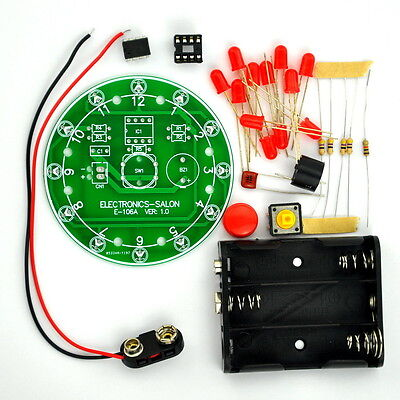 12 Position LED Electronic Lucky Rotary Board Kit, Based on PIC12F508 MCU. 106AB