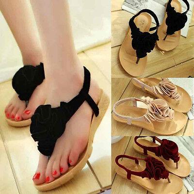 Women Flower Summer Bohemia Sweet  Sandals Clip Toe Sandals Beach Casual Shoes