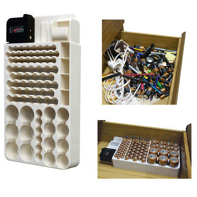 Battery Storage Organizer Rack 82 Holder Tester Case Box Organize Hold AA AAA 9V